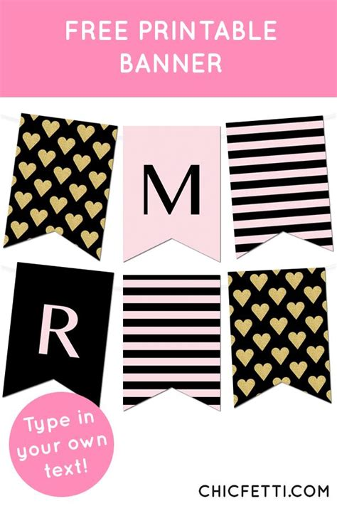 Striped Gold Heart Banner Free Printable Banner Printable Banner And Free Printable Banner Template Maker