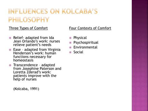types of comfort ppt katherine kolcaba theory of comfort powerpoint