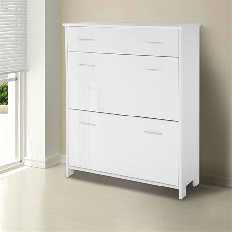 White Shoe Storage Cabinet Shoe Cabinet High Gloss Wood Storage Cupboard Rack Unit Drawer Organiser White