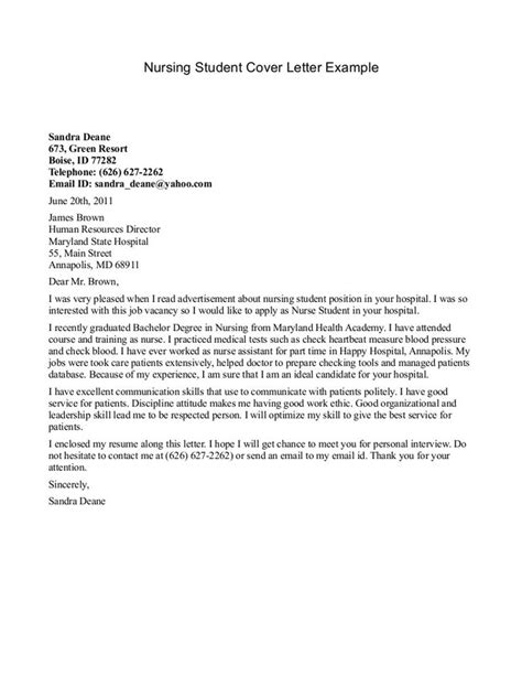 cover letter student exles 17 best ideas about nursing cover letter on