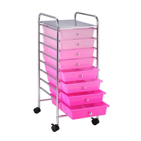 Small Rolling Cart With Drawers 8 Drawer Ombre Rolling Cart By Recollections Pink H