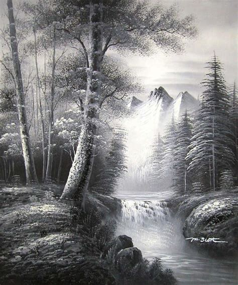 bob ross grayscale painting yessy gt a gt original paintings gt black and white