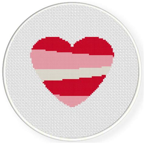 heart pattern for cross stitch heart stripe cross stitch pattern daily cross stitch