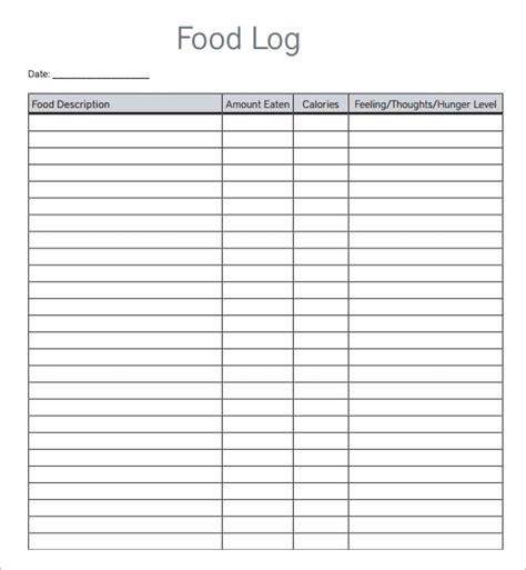 sample printable food log templates   ms