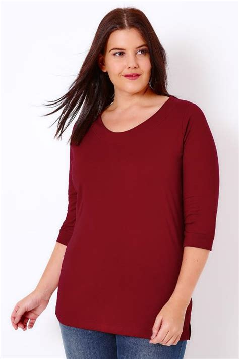 Banda Big Blouse band scoop neckline t shirt with 3 4 sleeves plus size