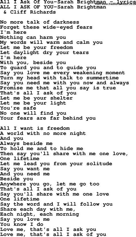 i you lyrics song lyrics for all i ask of you brightman