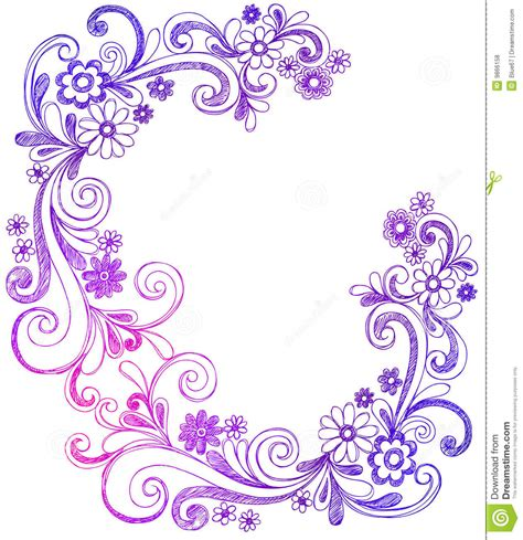 free doodle border vector flowers and swirls doodle vector border royalty free stock