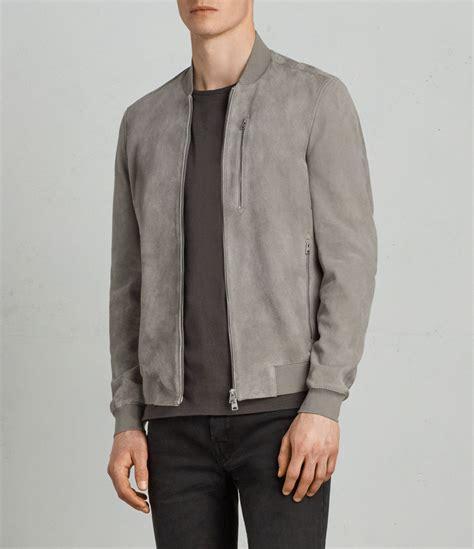 Bomber Suede allsaints us mens kemble suede bomber jacket ash grey