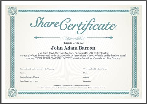 share certificate template included