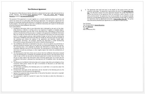 confidentiality contract template microsoft word templates