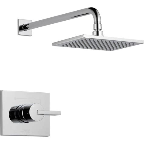 Delta Shower Faucets With Sprays by Delta Vero 1 Handle 1 Spray Raincan Shower Faucet Trim Kit In Chrome Valve Not Included T14253