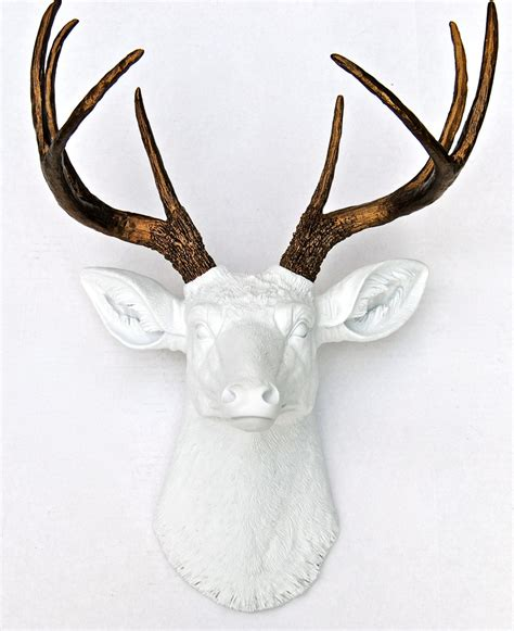 White Deer Wall Decor by White And Bronze Faux Deer Deer Antlers Taxidermy Wall Decor Ashtrygutierrez