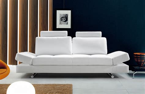 White Leather Contemporary Sofa Hymn Modern White Leather Sofa W Adjustable Backrest Modern Sofas Living Room