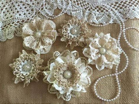How To Make Handmade Lace - 5 shabby chic vintage lace handmade flowers 2222346
