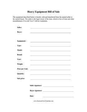 equipment sales receipt template heavy equipment bill of sale template