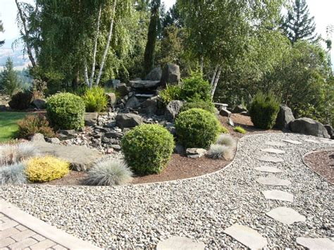 wood chip backyard good blend of wood chips flagstone and gravel
