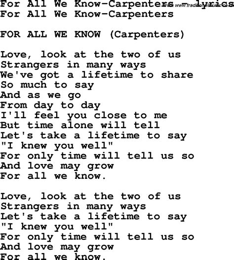 all we knew the cabots song lyrics for for all we carpenters