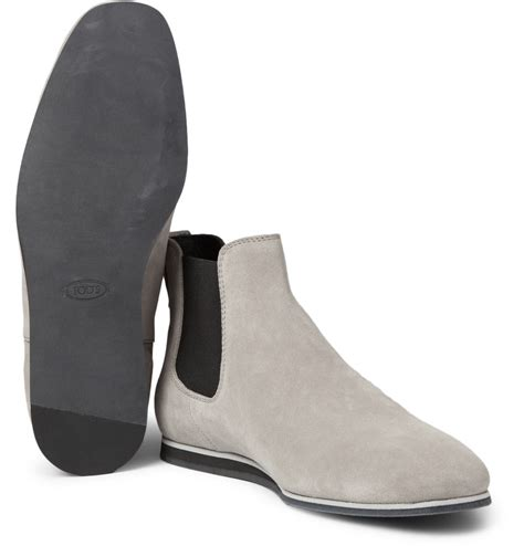 light grey suede boots tod s rubbersole suede chelsea boots in gray for men lyst