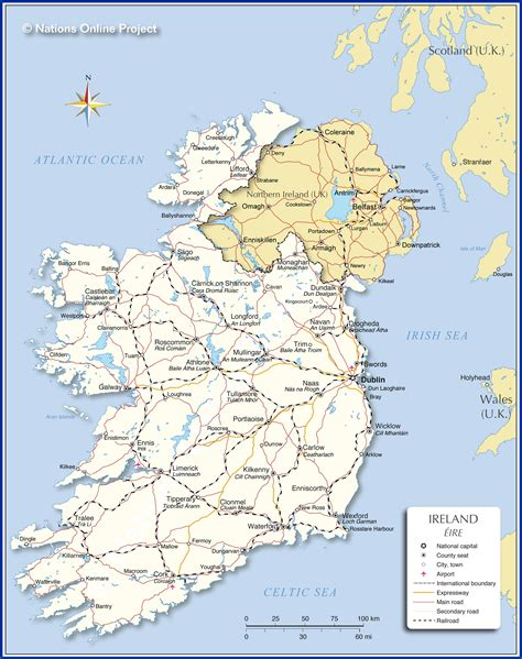 printable map ireland counties towns map map of ireland