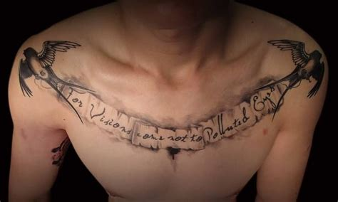 chest tattoos for men writing flying bird chest www pixshark images