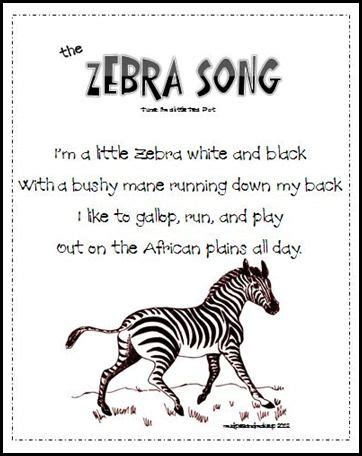 "z zebra: song  sing to tune of ""i'm a little tea cup"" 