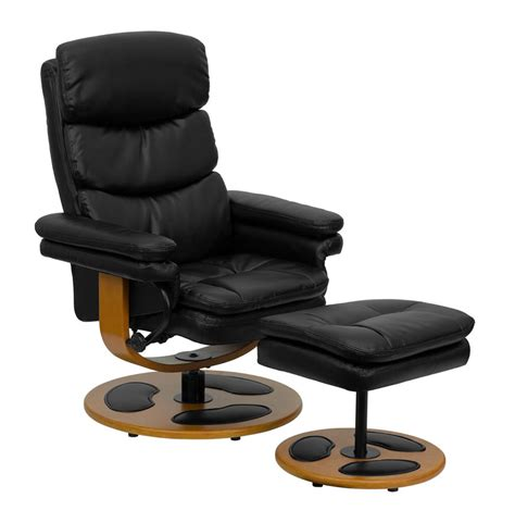 bonded leather chair and ottoman contemporary black bonded leather recliner and ottoman