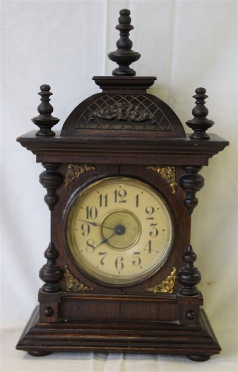 antique german wind  clock  chime alarm