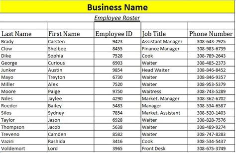 army battle roster template exles of employee