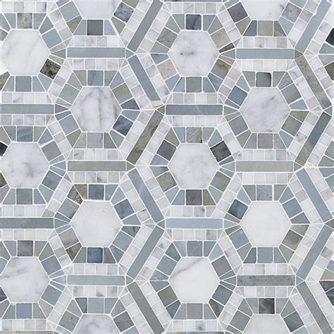 marble mosaic tile splashback tile kosmos carrera and moonstone hexagon 11 3 4 in x 11 3 4 in x 10 mm polished