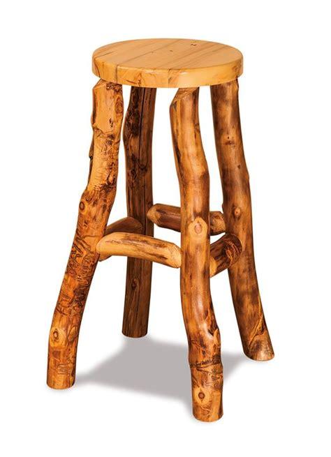 amish rustic aspen log bar stool