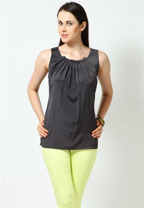 Solid Gray Top T682 sleeve less solid grey toptops tshirts