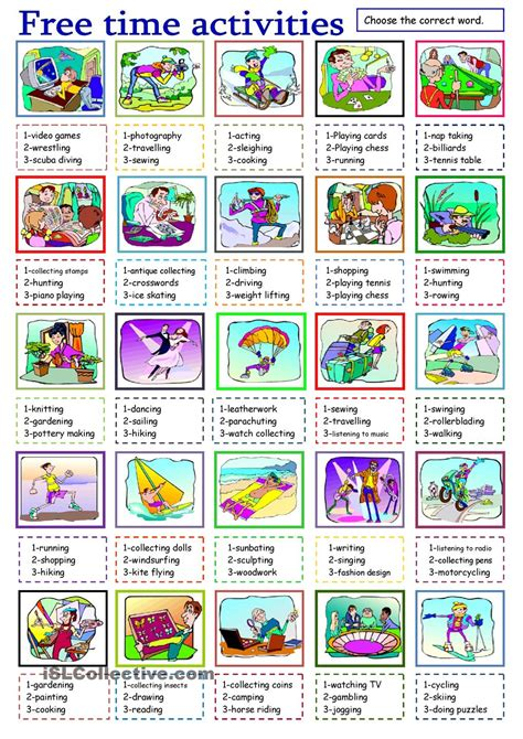 printable vocabulary games free time activities learn english pinterest time