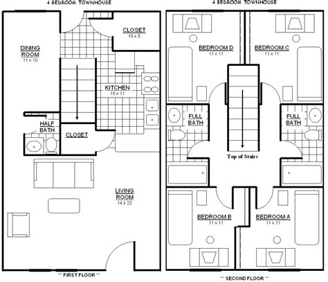 four bedroom townhomes 1 bedroom cabin floor plan joy studio design gallery