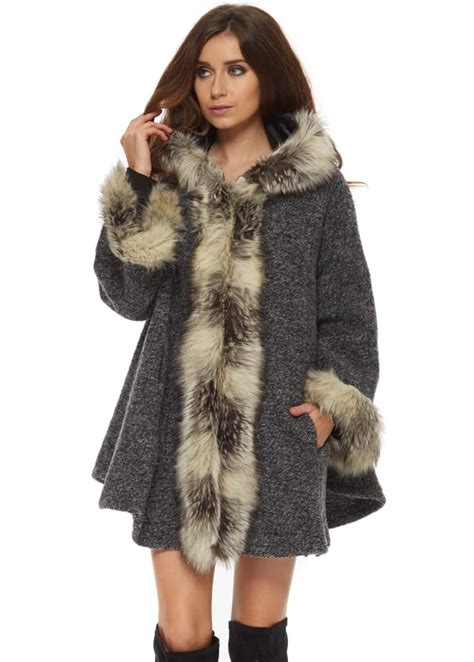 fur swing coat monton grey swing coat grey faux fur coat