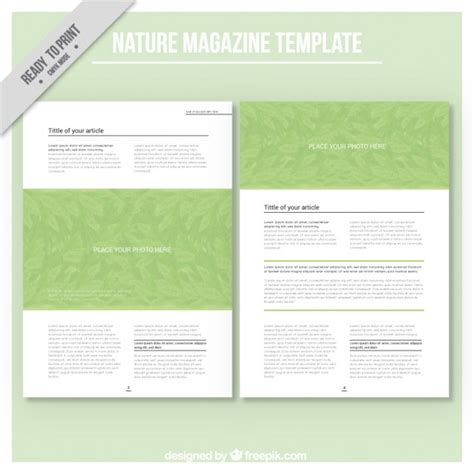 magazine template free simple magazine template about ecology vector free