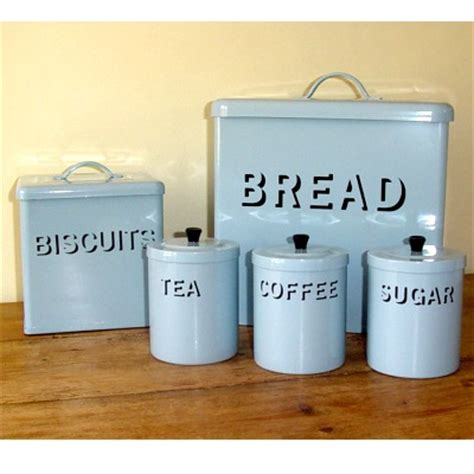 Kitchen Tea Coffee Sugar Canisters by Vintage Blue Enamel Bread Bin Set Kitchen Accessorie