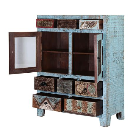 turquoise trail  door  drawer blue dining storage cabinet
