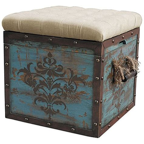 Nautical Storage Ottoman Antique Blue Storage Ottoman Furniture Woven Ropes Handles Crate Nautical Style Ebay
