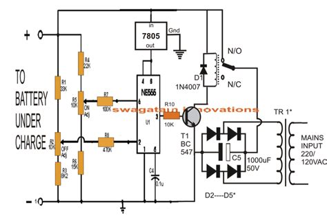 battery in a circuit diagram automatic lead acid battery charger electronics