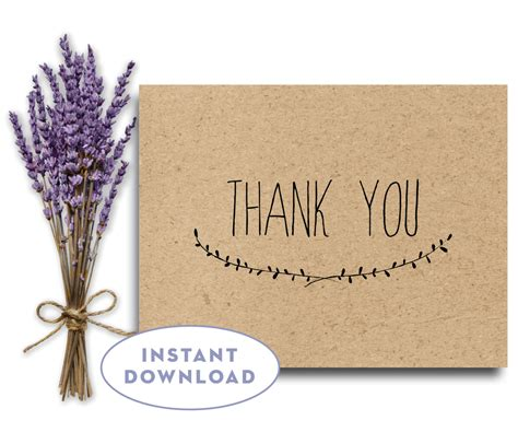 Thank You Card Downloads Rustic Thank You Card Instant Wedding Thank You Card