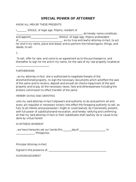 Authorization Letter With Special Power Of Attorney Spa Format