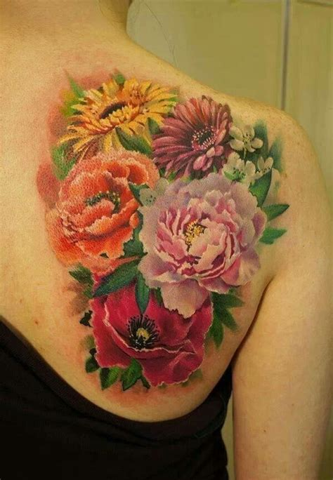 different color rose tattoos different colored pretty flowers on back