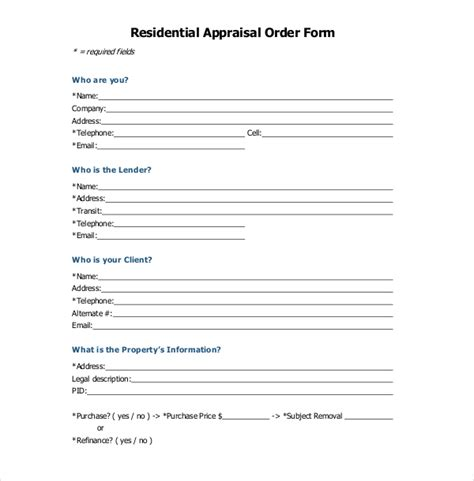 appraisal order form sle appraisal order forms 7 free documents in word pdf