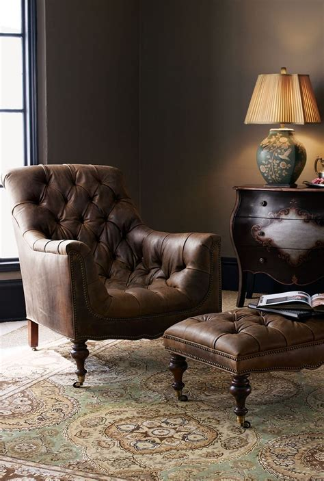 leather oversized chair with ottoman old hickory tannery tufted leather chair ottoman home