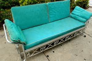 Cast Aluminum Outdoor Furniture Reviews - vintage 1950s aqua vinyl aluminum patio glider sofa