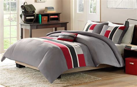 gray and red bedding 4 piece red grey black comforter set full queen bed size