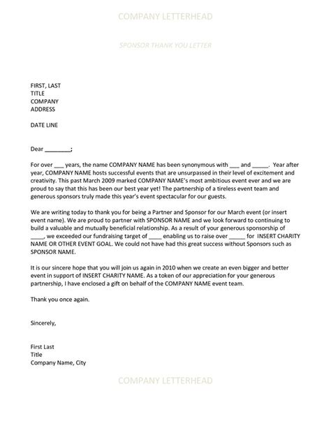 Thank You Letter For Marketing Sponsor Thank You Letter Effective Marketing Free Word Excel Pdf Format Home Design Idea
