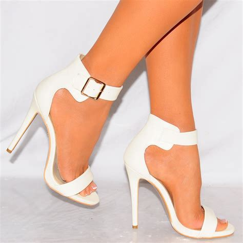 white high heeled shoes white faux leather strappy open toe ankle