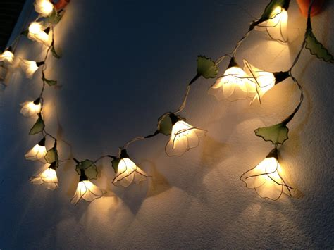 Decorative Patio String Lights 20 Bulbs White Himalayas Flower With Leaf String Lights For