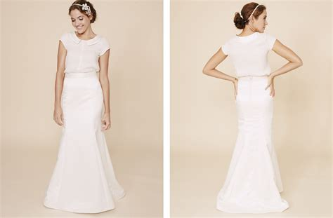 simple wedding dresses two piece bridal gown 2 onewed com